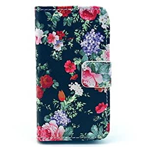 YXF Flowers Bloom in Figure on Black PU Leather Full Body Case for iPhone 4/4S