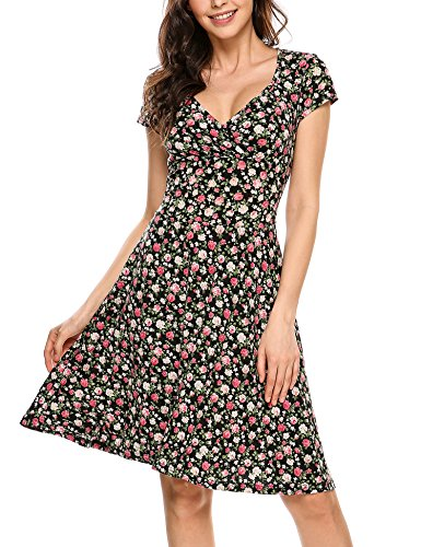 Dizzlle Rayon V-Neck Cap Half Sleeve Floral Casual Work Party Tea Wrap Swing Dress Black