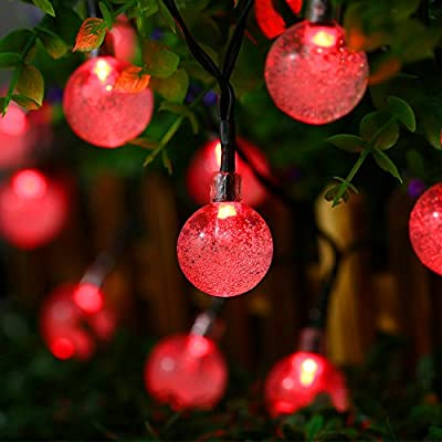 Qedertek Solar String Lights, Outdoor Globe Lights by , 20ft 30 LED Fairy Crystal Ball Lighting for Christmas Trees, Garden, Patio, Wedding, Party and Holiday Decorations