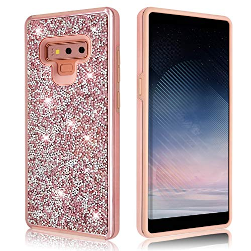 Samsung Galaxy Note 9 Glitter Shiny Bling Sequin Sparkle Diamond Hybrid Rubber Hard Crystal Heavy Duty Protective Phone Case Cover for Samsung Galaxy Note9 (Pink)