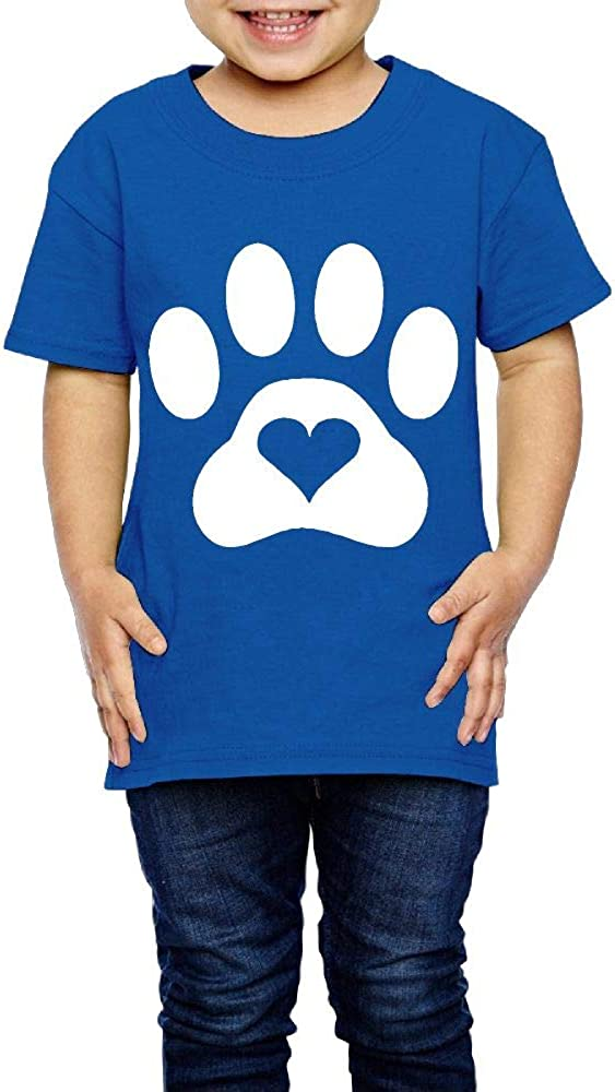 Paw Print Heart Dog Cat 2-6 Years Old Child Short-Sleeved Tshirts