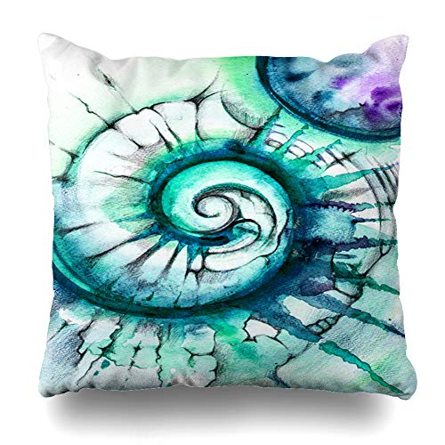 Ahawoso Throw Pillow Cover Space Blue Ocean Abstract Spiral Green Watercolor Pearl Shell Nature Pattern Sea Arts Bright Color Home Decor Cushion Case Square Size 16