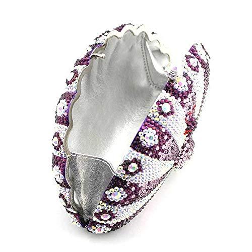 Dames Portefeuille Forfait De Haute Dîner Sac Qualité Paon De Cristal De D'embrayage Purple Diamant Luxe xqTwdn8v