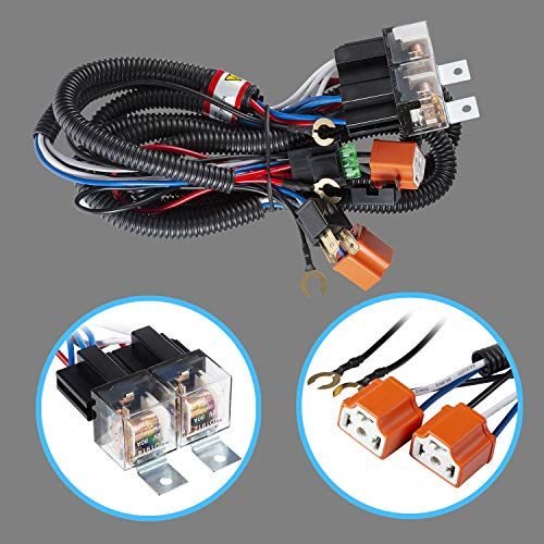 Tinpec Headlight H4 Headlamp Light Bulb Ceramic Socket Plugs Relay Wiring Harness Kit Compatible with Toyota Pickup Tacoma 7x6 5x7 H6054 Headlights