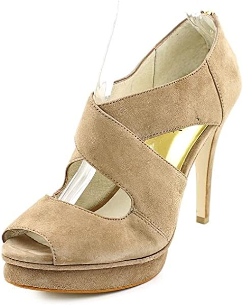 c333a61cd88 Michael Kors Elena Cross Strap Womens Peep Toe Suede Platforms Heels Dark  Dune Shoes (10