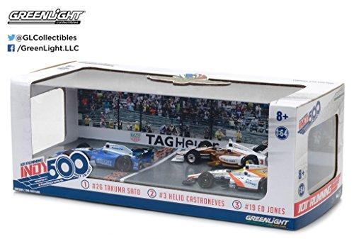 Greenlight 10799 1 64 Scale 2017 Indianapolis 500 Podium 3 Car Set    26 Takuma Sato   Andretti Autosport   3 Helio Castroneves   Penske Racing   19 Ed Jones   Dale Coyne Racing
