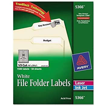 Amazon.com : Avery 5366 Permanent Self-Adhesive Laser/Inkjet File ...