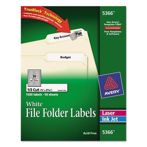 Avery 5366 Permanent Self-Adhesive Laser/Inkjet File Folder Labels, White, 1500/Box