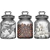 Set Of Three Storage Jars 990ml Ribbed Glass Tea Coffee Suga