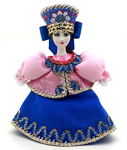 (Russian Doll with porcelain hand painted face CHRISTMAS ORNAMENT / Girl in a blue pink dress gift)