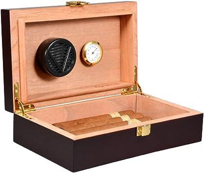 Humidor de cigarro de cedro suave caja de madera negra: Amazon.es: Salud y cuidado personal