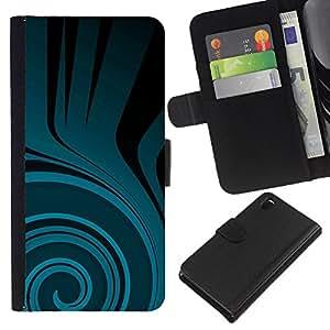 [Neutron-Star] Modelo colorido cuero de la carpeta del tirón del caso cubierta piel Holster Funda protecció Para Sony Xperia Z3 D6603 [Patrón trullo Flow Negro Oscuro]