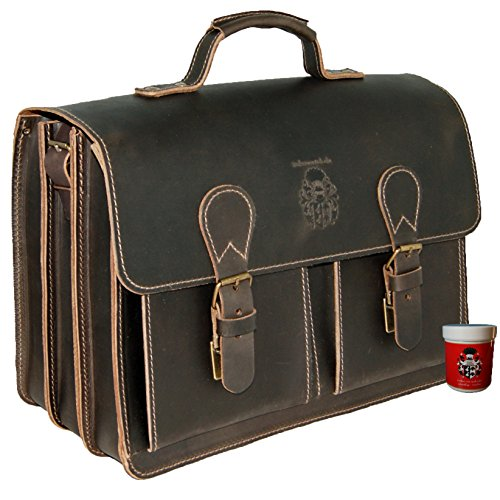 BARON of MALTZAHN Large briefcase DA VINCI 1 brown leather - Made in Germany + leather care