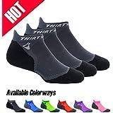 Thirty 48 Ultralight Athletic Running Socks for Men and Women with Seamless Toe, Moisture Wicking, Cushion Padding (Small - Women 5-6.5 // Men 6-7.5, [3 Pairs] Black/Gray)