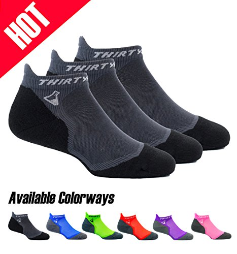 Thirty 48 Ultralight Athletic Running Socks for Men and Women with Seamless Toe, Moisture Wicking, Cushion Padding (Large - Women 9-10.5 // Men 10-11.5, [3 Pairs] Black/Gray)