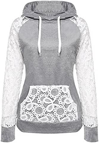 Women's Fashion Lace Patchwork Hooded Sweatshirt Pullover Hoodie Coat Outerwear Tops Tunic with Front Pocket