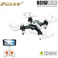 FQ777 951W WIFI Mini Pocket Drone FPV 4CH 6-Axle Gyro Quadcopter with 30W Camera Smartphone Holder Transmitter Headless Mode 3D-flip Function - Black