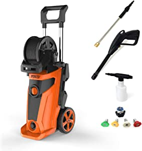 LofKos 2300 PSI Electric Pressure Washer, 1,800W 1.85GPM Power Washer with Hose Reel and Wheels, 16ft Cable, 20ft Hose for House and Car Cleaning