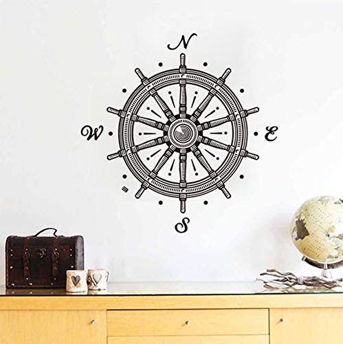 TWJYDP Wall Sticker Wallstickers Ship Rudder Children Design and Home Decor Waterproof Bathroom Wall Tile Decals Scandinavian Style Room Decoration 59X60Cm