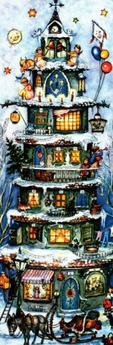Tall Christmas House German Advent Calendar Christmas Countdown Made in Germany Pinnacle Peak Trading Company