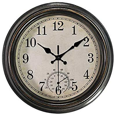 12 Inch Wall Clock with Thermometer,Battery Operated Waterproof Indoor/Outdoor Clock for Bathroom/Kitchen/Bedroom,Bronze - Silent Mechanism: non ticking, quiet sweep second hand ensure a good sleeping and work environment. Perfect clock for hanging outdoors or indoors, dining rooms, living rooms, family rooms, bedrooms, study room, kitchen, office, or conference room,analog ambient dual temperature (℉&℃) Elegant Design: Retro Black-Bronze frame , Yellowing white dial face and large black numbers provide a good view. Easy to Use:battery powered, require one AA zinc carbon battery(not included)only,(alkaline battery or rechargeable battery which may have influence on the life span of clock movement, as well as the accuracy of the time).Come with a wide slot in back for easy hanging. - wall-clocks, living-room-decor, living-room - 51PWfTpz4aL. SS400  -