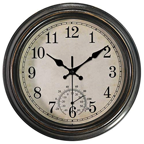 12 Inch Vintage Wall Clock with Thermometer,Battery Operated Waterproof Silent Decorative Clock for Bathroom/Kitchen/Bedroom,Bronze (Thermometer Vintage Wall)