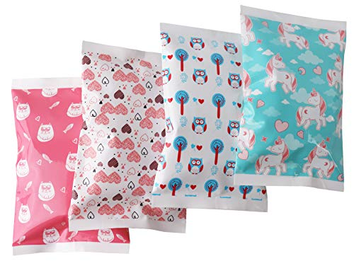 Ice Pack for Lunch Boxes - 4 Reusable Packs - Girls Prints - Keeps Food Cold - Cool Print Bag Designs - Great for Kids or Adults Lunchbox and Cooler