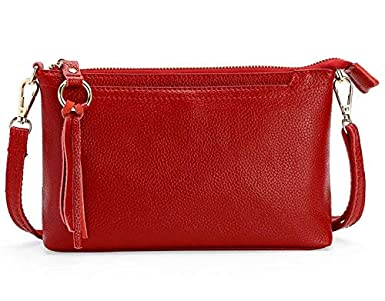 Premium Leather Crossbody Bag Handbag Cellphone Pouch for LG G7 / LG Stylo 4 Plus/LG V30 / LG V40 ThinQ/LG V35 ThinQ / K30 / Motoroa Moto G6 Play / G5s Plus / E5 Plus / Z3 Play (WineRed) Yrong