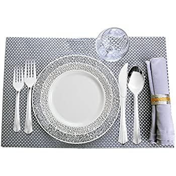 Party Bargains Disposable Plastic Plates White | Heavyweight u0026 Premium Quality China Like Dinnerware Lace Collection | Plastic Silverware Set for Weddings ...  sc 1 st  Amazon.com & Amazon.com: