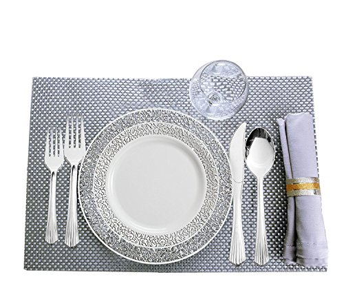 80 Disposable Plastic Plates | Durable White China Like Dinnerware | 160 Upscale Collection Plastic Silverware Set | Excellent for Weddings, Fine Dining, Birthday Parties | White (240 Ct) ()
