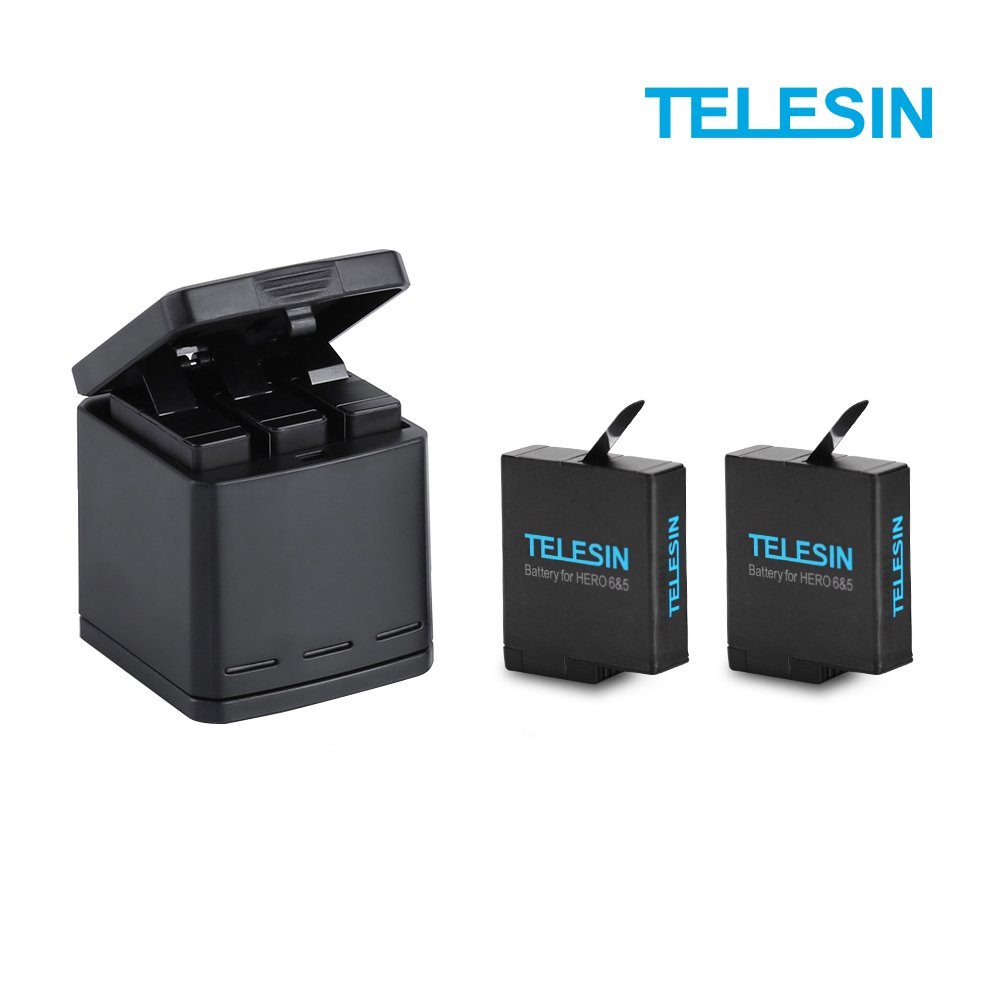 TELESIN Triple Charger with Battery Kit, Battery Storage Charging Box with 2 Battery Pack Rechargeable Battery Replacement for GoPro Hero 2018, Hero 6 Hero 5 Black Action Camera