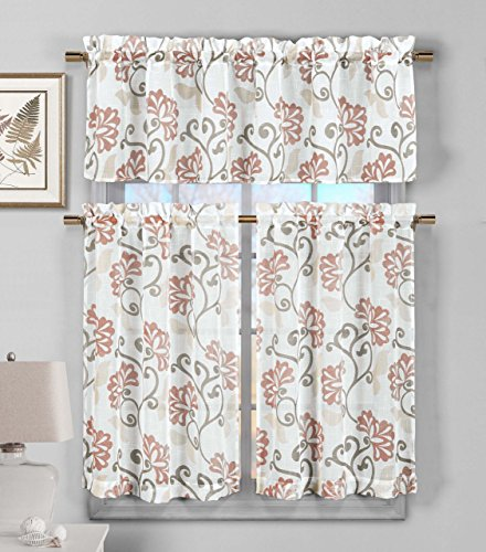 3 Piece Sheer Window Curtain Set: Floral Vine Deisgn, 2 Tiers, 1 Valance (Blush) (Beachy Treatments Window)