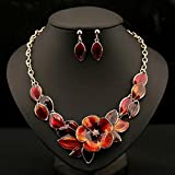 style8 orange - Women Fashion Pendant Crystal Flower Choker Chunky Statement Chain Bib Necklace