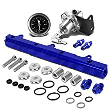Honda B-Series Top Feed Fuel Injector Rail Kit (Silver)+Fuel Pressure Regulator (Blue)