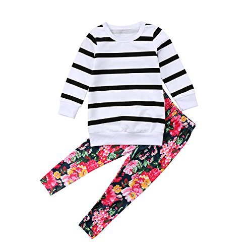 Kids Toddler Baby Girl Long Sleeve Striped T-Shirt Tops+Floral Pants Outfit Set (White+Floral, 2-3T) ()