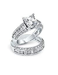 Bling Jewelry Princess Cut CZ 3 Sided Engagement Wedding Ring Set Silver