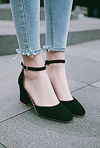 Klassisch Blockabsatz Damen Sandalette Geschlossen High Knöchelriemchen Heels Schwarz Aisun Iv5Zww