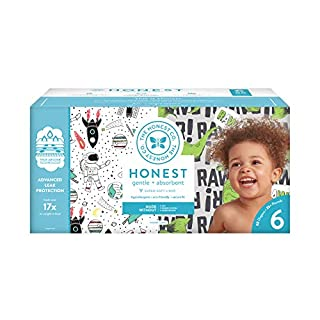 The Honest Company Super Club Box Diapers with TrueAbsorb Technology, Space Travel & T-Rex, Size 6, 88 Count