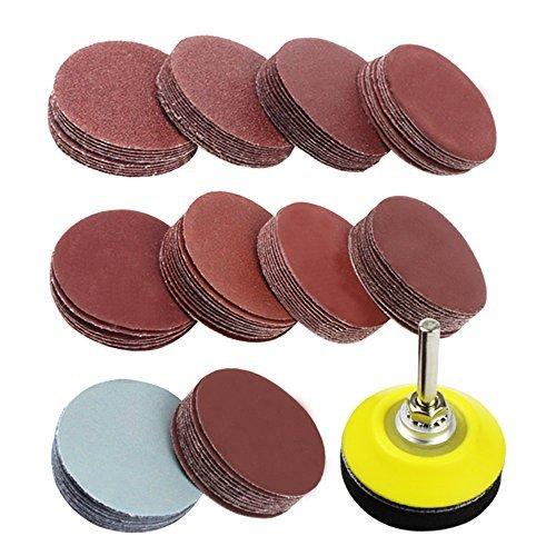 Coceca - Juego de 100 discos de lija de 5 cm para taladro, molinillo giratorio, con placa trasera de 1/4 pulgadas, incluye...