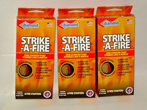 Strike-A-Fire Diamond Brand Fire Starter Matches - 3 Boxes (24 Fire Starters Total) ()