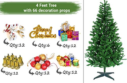 TIED RIBBONS Christmas Xmas Tree for Home Office Decoration (4 Feet) with 66 Ornaments Tree Decoration Props – Xmas Tree