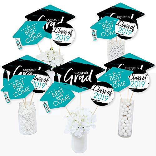 Teal Grad - Best is Yet to Come - 2019 Turquoise Graduation Party Centerpiece Sticks - Table Toppers - Set of 15
