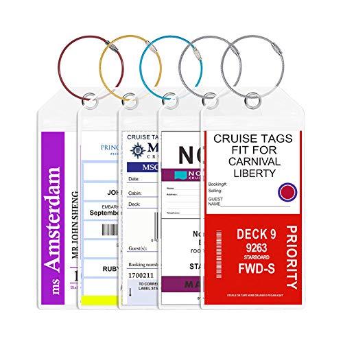 (Cruise Tags Jollyants Wide Luggage Etag Holders 2019 Zip Seal & Colorful Steel Loop- Clear Reusable(5 tags))