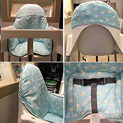 IKEA Antilop Highchair Cotton Seat Covers by ZARPMA,Padded Cotton,Foldable Baby Highchair Cover IKEA Child Chair Cushion (Light Green)