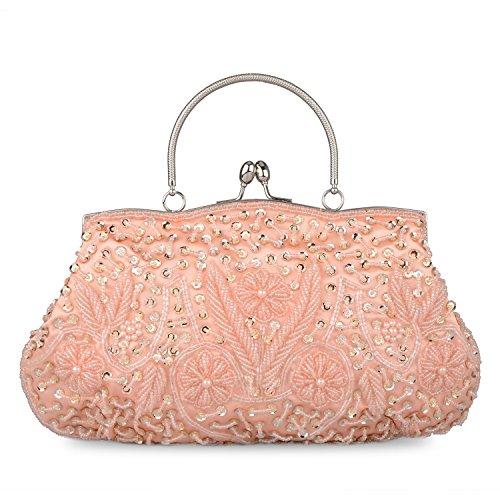 Kaever Women's Vintage Kiss Lock Beaded Sequin Design Flower Evening Clutch Large Wedding Purse(Champagne)