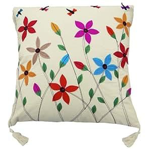 Remiendo floral Funda de almohada blanca Cojín Patchwork 53 Cm Arte Decoración Regalos Indian 15 pulgadas