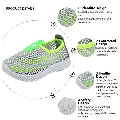 CIOR Kids Slip-on Breathable Sneakers For Running Beach Toddler / Little Kid,D110,Grey?36 6