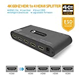 gofanco Prophecy Intelligent 4K 60Hz HDR 1x4 HDMI 2.0 Splitter - YUV 4:4:4, 3D, HDMI 2.0a, HDCP 2.2, EDID, 18Gbps, Auto Scaling, Low Heat, Cascadable, Firmware Upgradable, 4 port 1 in 4 out