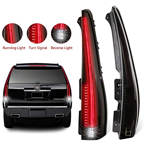 (MOSTPLUS LED Tail Lights Rear for Cadillac Escalade 2007 2008 2009 2010 2011 2012 2013 2014 ESV Smoked Tinted.)