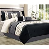 Baldwin 7 Piece Striped Embroidered Comforter Bed Set, Queen, Black / Grey / Ivory